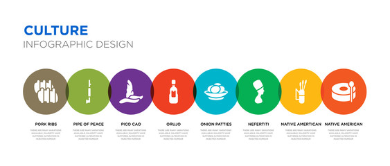 8 colorful culture vector icons set such as native american drum, native amertican arrows and quiver, nefertiti, onion patties, orujo, pico cao, pipe of peace, pork ribs