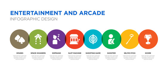 8 colorful entertainment and arcade vector icons set such as score, selfie stick, shooter, shooting game, slot machine, soprano, space invaders, spades