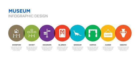 8 colorful museum vector icons set such as ceramic, closed, curtain, dinosaur, el greco, excursion, exhibit, exhibition