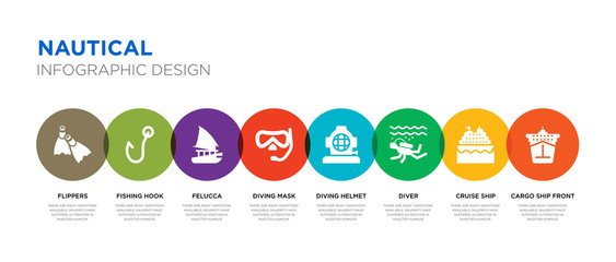 8 colorful nautical vector icons set such as cargo ship front view, cruise ship, diver, diving helmet, diving mask, felucca, fishing hook, flippers