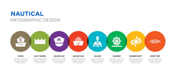 8 colorful nautical vector icons set such as rope tied, rubber raft, rudder, sailor, sailor cap, sailor hat, salt water, scow