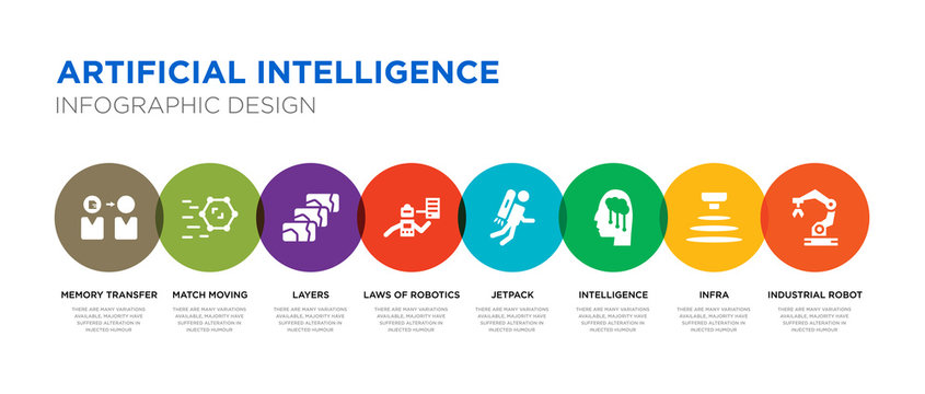 8 colorful artificial intelligence vector icons set such as industrial robot, infra, intelligence, jetpack, laws of robotics, layers, match moving, memory transfer