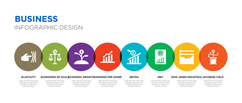 8 colorful business vector icons set such as dividend yield, dow jones industrial average, ebit, ebitda, earnings per share (eps), economic growth, economies of scale, elasticity