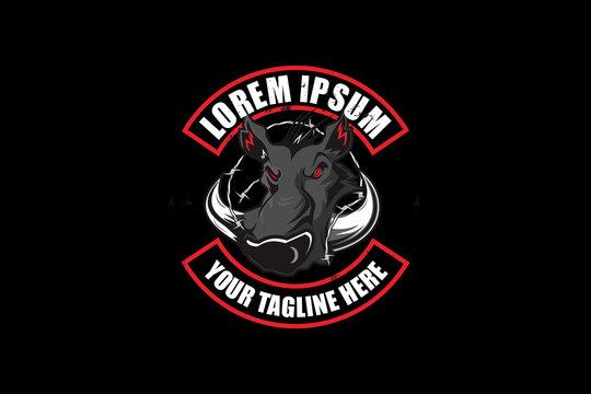 wild boar hunting club logo badge vector template
