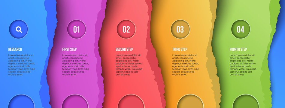 Colorful gradient torn paper style trendy infographic design template eps10 vector, cute papercut background presentation