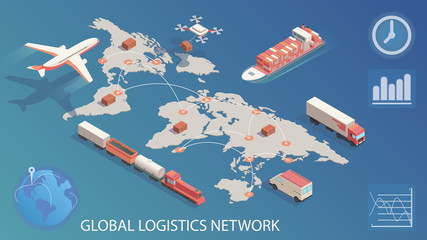Isometric global logistics network. Concept of air cargo trucking rail, transportation maritime shipping