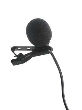 Lavalier condenser recording microphone isolated on white background