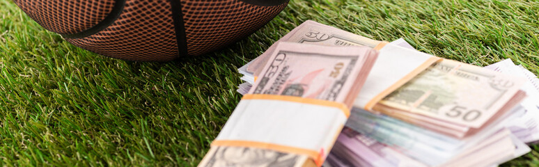 panoramic shot of euro and dollar banknotes on green grass, sports betting concept
