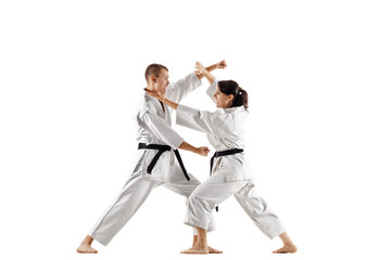 karate girl and boy fighting