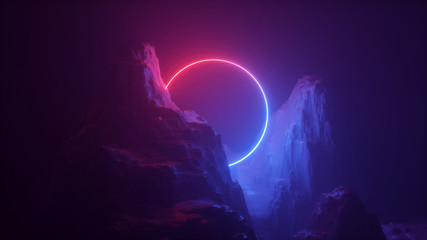 3d abstract neon background. Cosmic landscape, terrain at night, foggy rocks, ground. Round blank frame, copy space. Red blue light, virtual reality, energy source, laser ring.