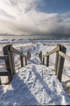 stairs to frozen beach