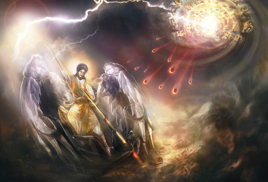 Saint Archangel Michael kills Lucifer