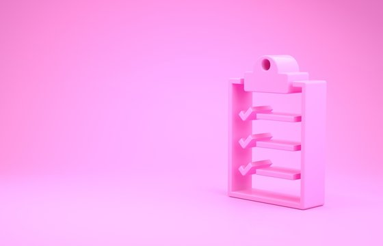 Pink Clipboard with checklist icon isolated on pink background. Minimalism concept. 3d illustration 3D render