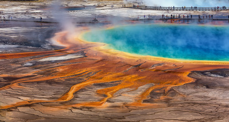 Midway Geyser Basin, Yellowstone National Park, Wyoming / USA :August 27 2017: The Grand Prismatic Spring in Yellowstone National Park is the largest hot spring in the United States, and the third la