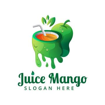 juice mango logo template, mango logo, illustration juice mango for your business