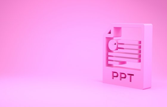 Pink PPT file document. Download ppt button icon isolated on pink background. PPT file presentation. Minimalism concept. 3d illustration 3D render