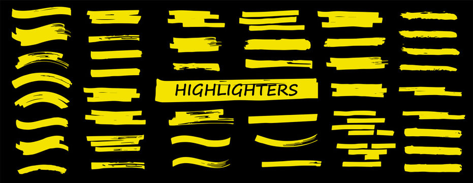 Highlighters set. Vector Brush lines. Marker color stroke. Yellow watercolor hand drawn highlight set. Brush pen hand drawn underline. Vector graphic stylish element. Marker lines collection