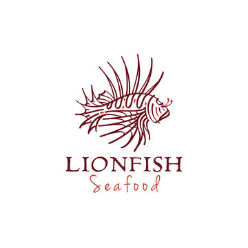 Lionfish Pteoris, Coral Lion Fish Ocean Creature Sketch Drawing Logo design for Tropical Seafood Restaurant Bar