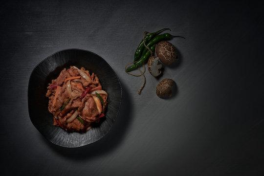 Korea's signature dish, delicious and addictive bulgogi. Spicy bulgogi. a pork dish. 불고기. 돼지고기,  제육볶음