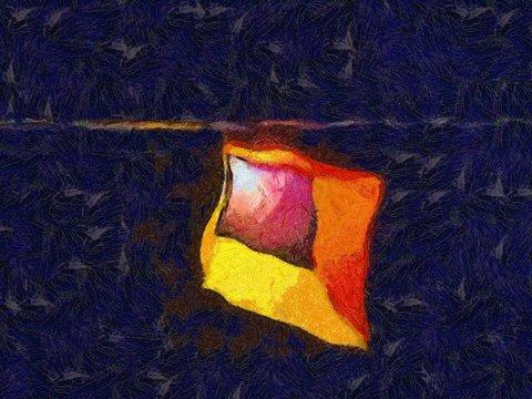 Diamond pendant lamp Illustrations creates an impressionist style of painting.