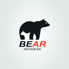The negative space that forms two bears, mother and baby bear, bear logo. vector illustration