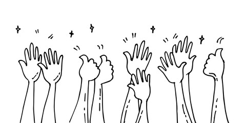 doodle of hands up,Hands clapping. applause gestures. congratulation business. vector illustration