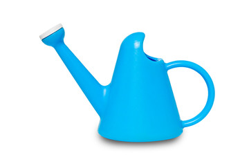 The blue plastic watering cans isolated on white background with clipping path.