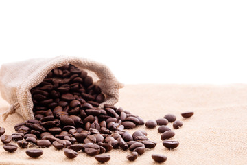 Wall Murals Coffee beans brown arabica coffee beans with coffee sack