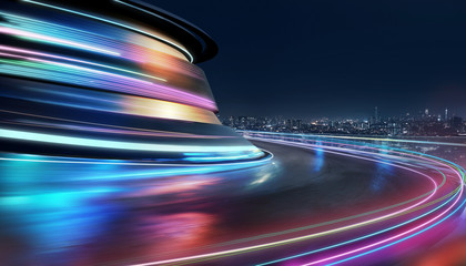 Wall Murals Night highway Abstract motion curvy urban road