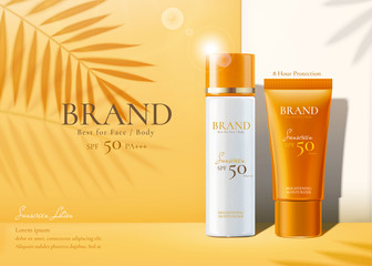 Sunscreen products set ads