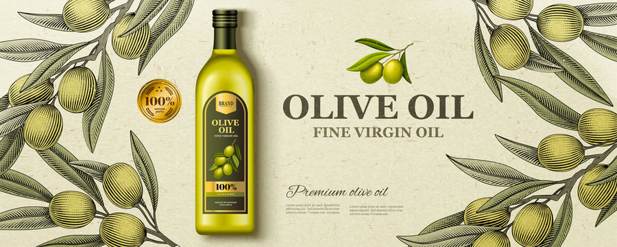 Flat lay olive oil ads