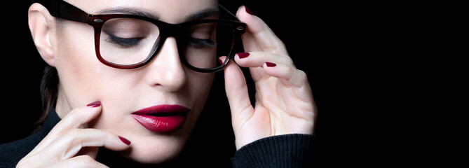 Beautiful young woman wearing glasses. vision correction, optometry and fashion eyewear concept Wall mural