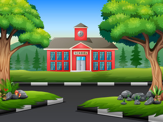Background of school building with the street