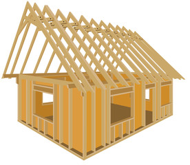 Timber frame house - Construction home with wood - Wooden house - carpentry - Timber frame
