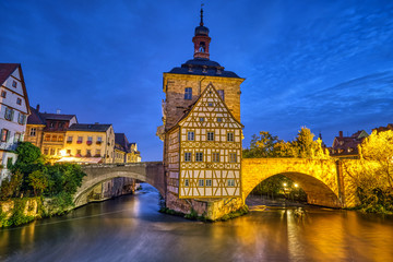 The beautiful Old Town Hall of Bamberg in Germany at night