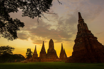 Wall Murals Place of worship Old Buddhist temple in Ayutthaya historical park, Thailand. A UNESCO World Heritage Site.