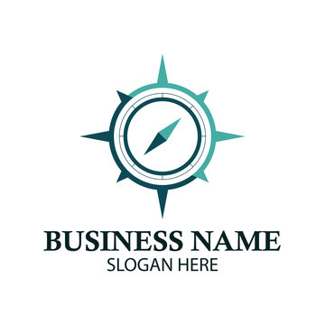 simple compass vector logo design illustration inspiration template