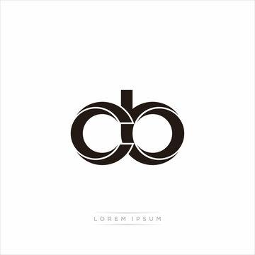 cb Initial Letter Split Lowercase Modern Monogram linked outline rounded logo