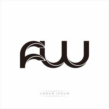 fw Initial Letter Split Lowercase Modern Monogram linked outline rounded logo