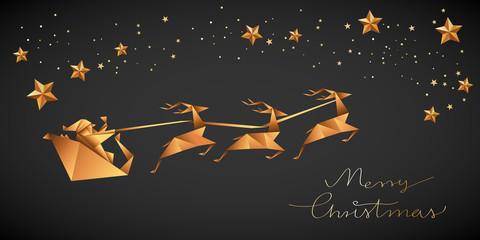 Święty Mikołaj, sanie i renifery. Bożonarodzeniowa kartka z życzeniami. - fototapety na wymiar