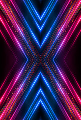 Wall Mural - Dark abstract futuristic background. Neon lines, glow. Neon lines, shapes. Pink and blue glow.