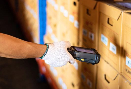 Barcode scanner reader modern warehouse management technology business
