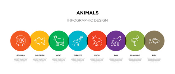 8 colorful animals outline icons set such as fish, flamingo, fox, frog, giraffe, goat, goldfish, gorilla