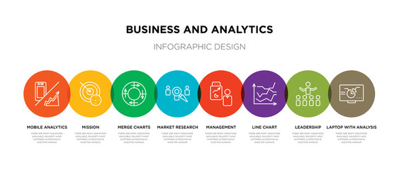 8 colorful business and analytics outline icons set such as laptop with analysis, leadership, line chart, management, market research, merge charts, mission, mobile analytics