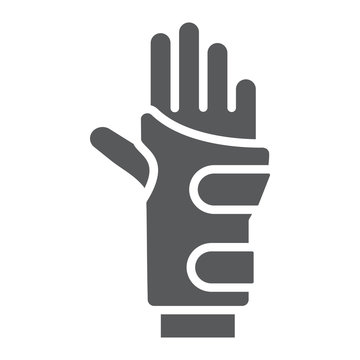 Wrist brace glyph icon, orthopedic and medical, arm bandage sign, vector graphics, a solid pattern on a white background.