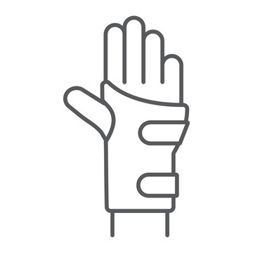 Wrist brace thin line icon, orthopedic and medical, arm bandage sign, vector graphics, a linear pattern on a white background.