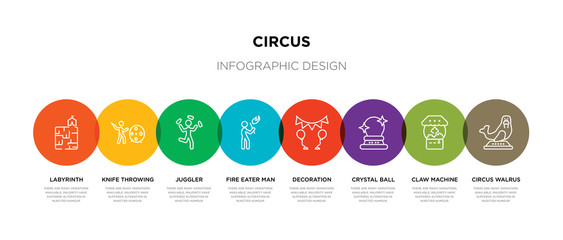 8 colorful circus outline icons set such as circus walrus, claw machine, crystal ball, decoration, fire eater man, juggler, knife throwing, labyrinth