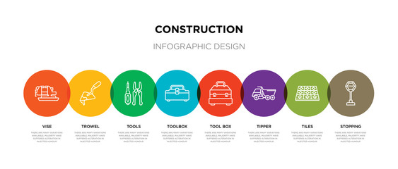 8 colorful construction outline icons set such as stopping, tiles, tipper, tool box, toolbox, tools, trowel, vise