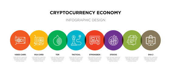 8 colorful cryptocurrency economy outline icons set such as sha 2,  , stocks, strongbox, tactical, tor, vga card, video card