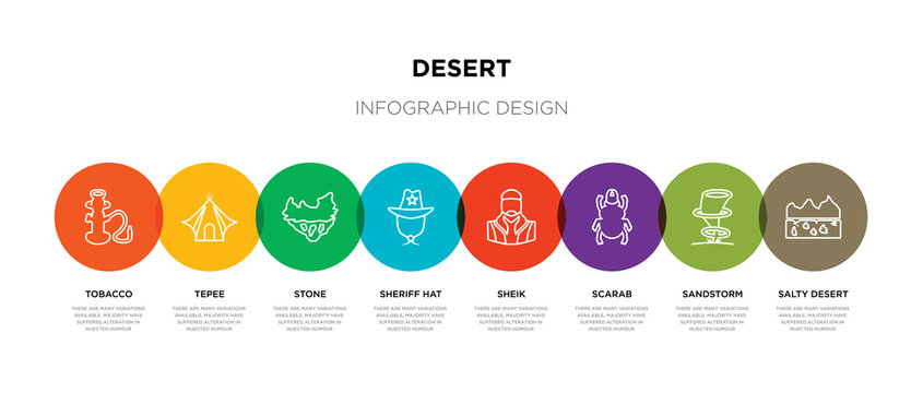 8 colorful desert outline icons set such as salty desert, sandstorm, scarab, sheik, sheriff hat, stone, tepee, tobacco